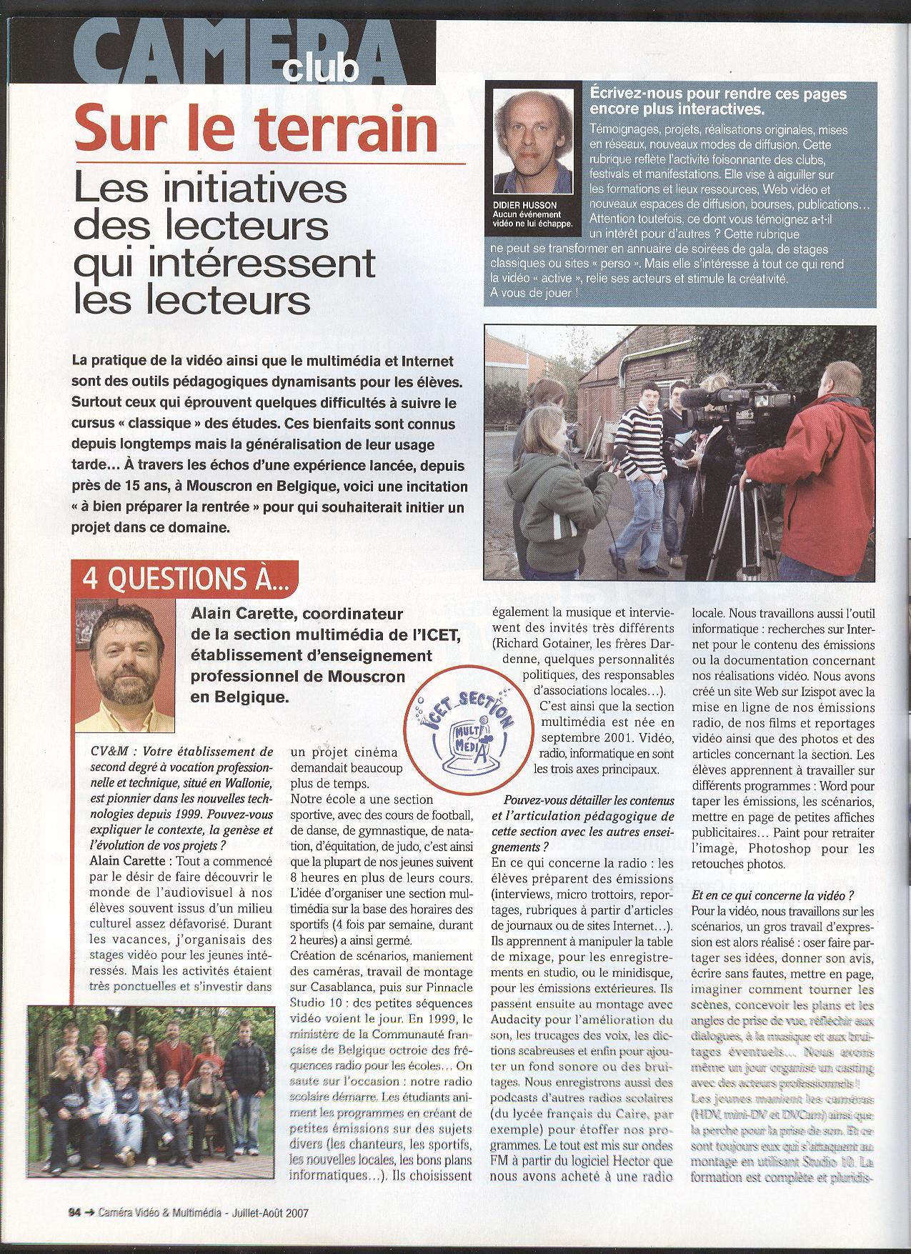 reportage de la revue française Caméra Vidéo 2007